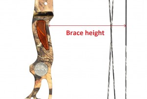 Image of the compound bow with a brace height drawn